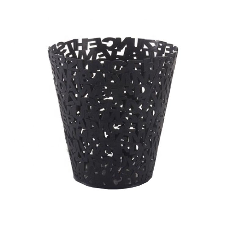 European and American style solid color fashion letter hollow trash can