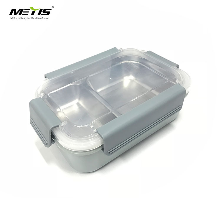 safer easy clean A6069-2 304 super big capacity 2 grids steel beton lunch box