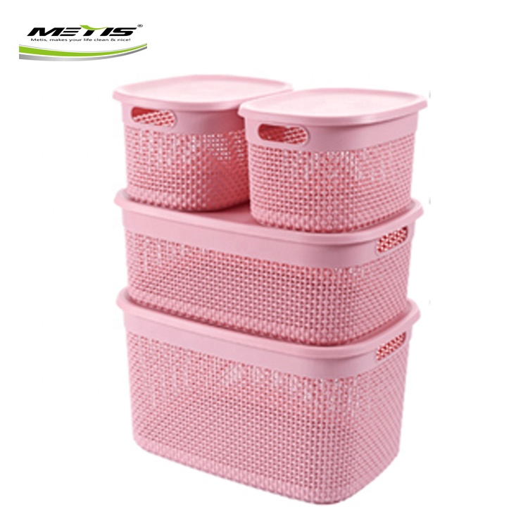 Home classroom paper plastic storage basket tray with handles