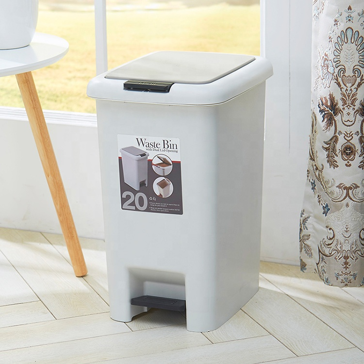 2020 hot sell METIS home office trash can plastic foot operated waste bin with pedal