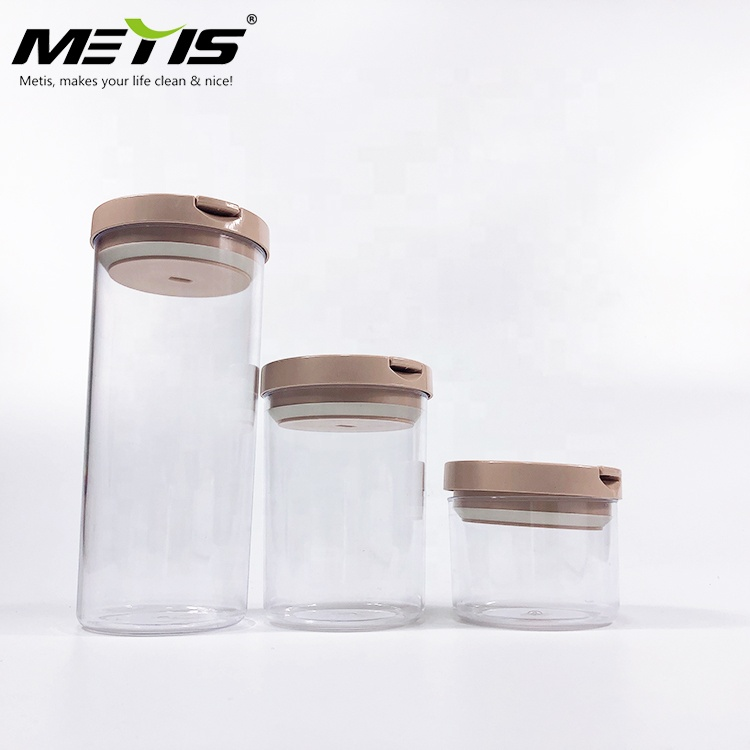 Plastic Airtight Food Storage Containers Set 3 Piece Set Durable Plastic BPA Free Hermetic Cereals Canisters with Lids