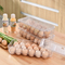 Transparent PET 18 Separate Case Anti-skid Stackable Layer Egg Box Kitchen Refrigerator Egg Storage Box
