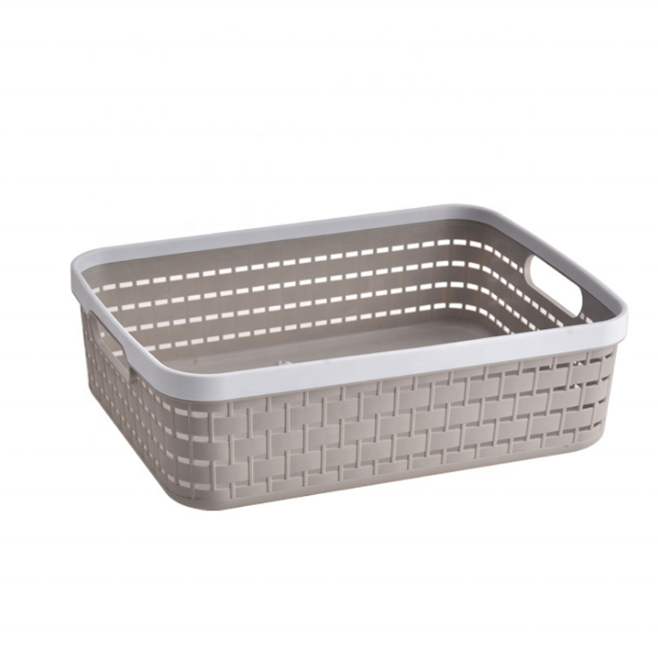 High quality clothes square plastic handle storage baskett with handle