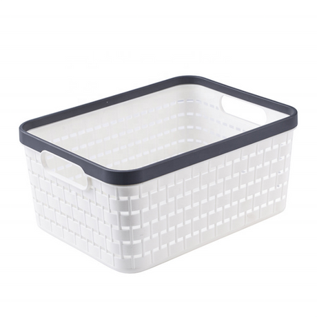 Laundry basket woven plastic bamboo storage boxs with lid sundry storage baskets