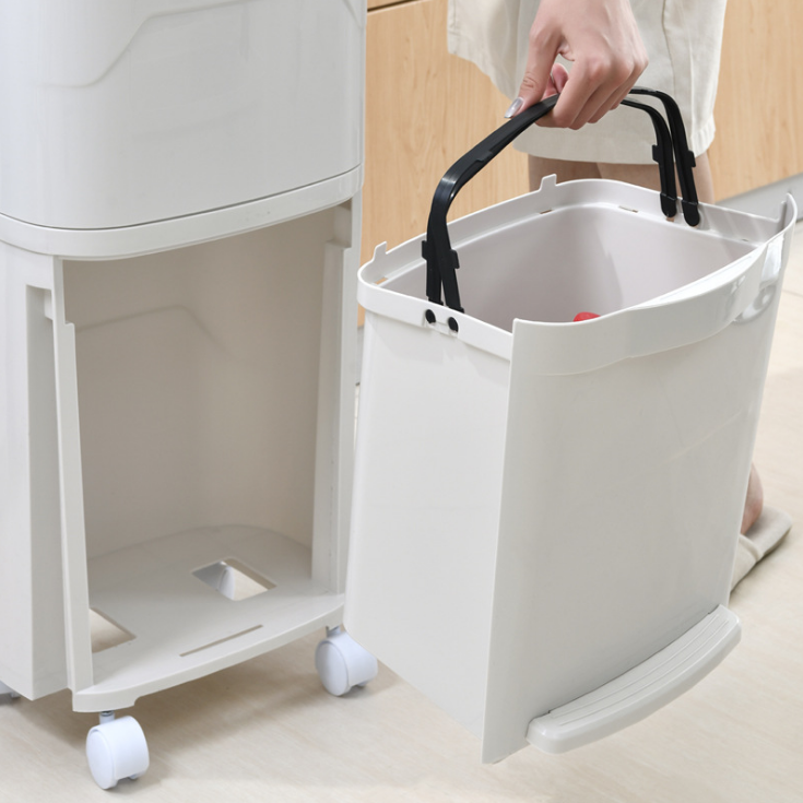 38L Recycling Bin, Double Trash Can Compartments, Single-closing Lids Plastic Inner Buckets and Carry Handles
