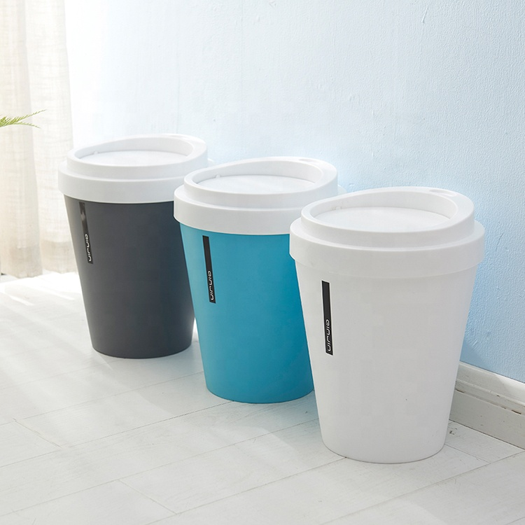 Household kitchen lid-type trash can Bathroom with lid paper basket creative living room bedroom plastic trash