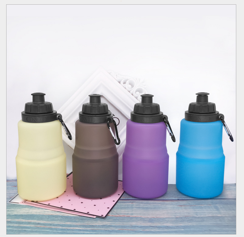 Portable 500 ml Outdoor Sport Camping Travel Running Collapsible Folding Retractable Silicone Drinking Water Bottle
