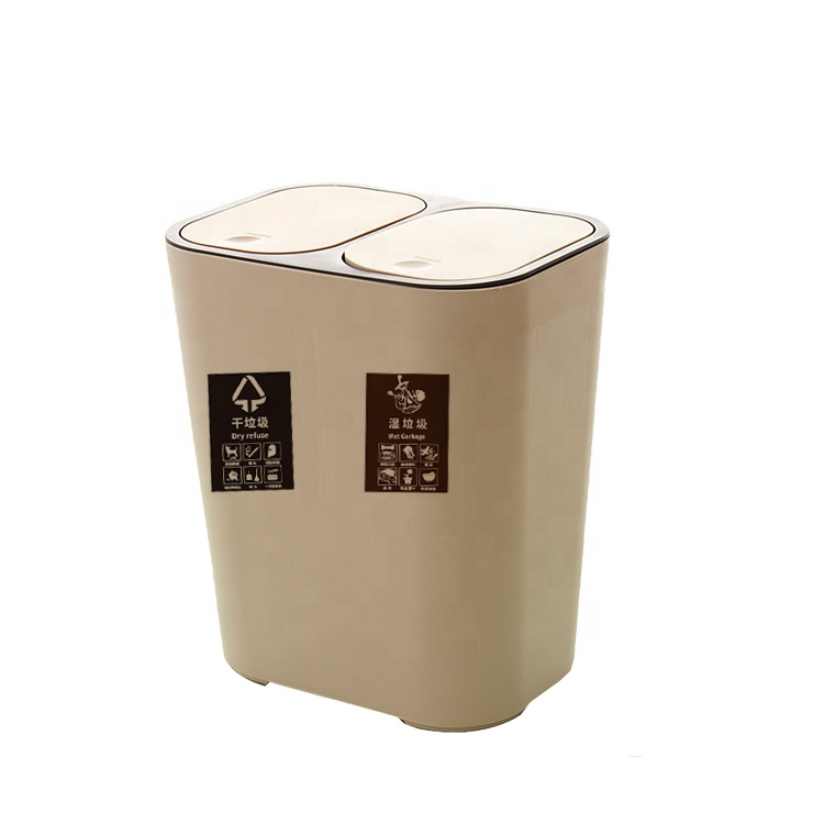 Modern Creative can Classified Dustbins Trash Can Bathroom Plastic Trash Can Pedal WithDouble Cover Square