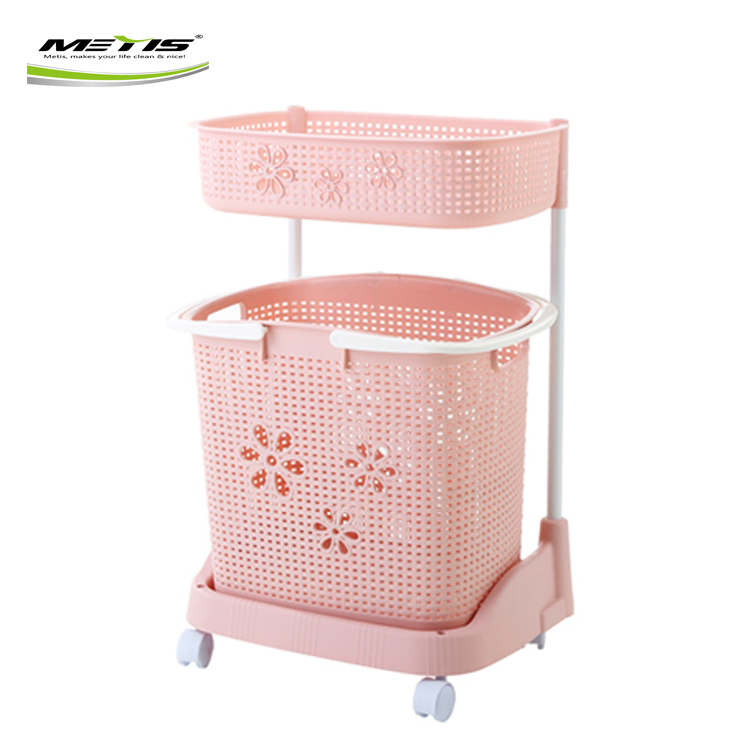 Gold Supplier Kitchen/Bathroom Plastic Three-tier Combined Laundry Basket with Wheels