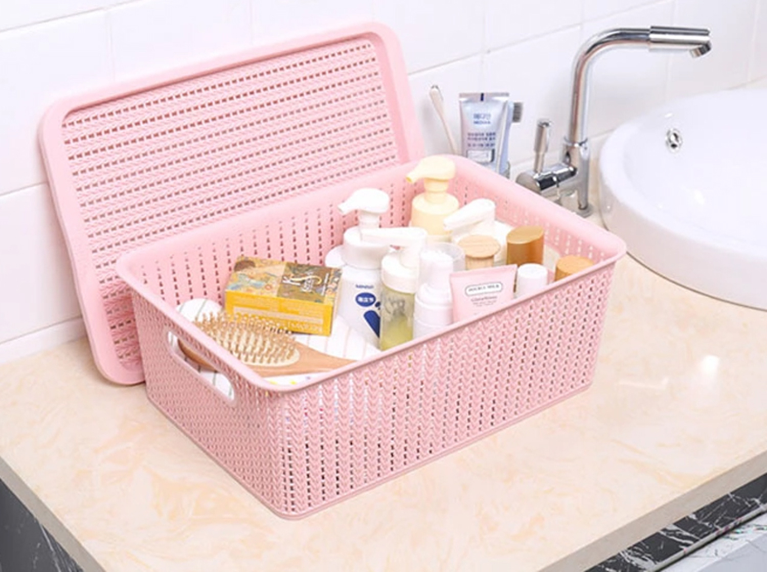 METIS high quality Multiple sizes plastic Square storage basket with lid